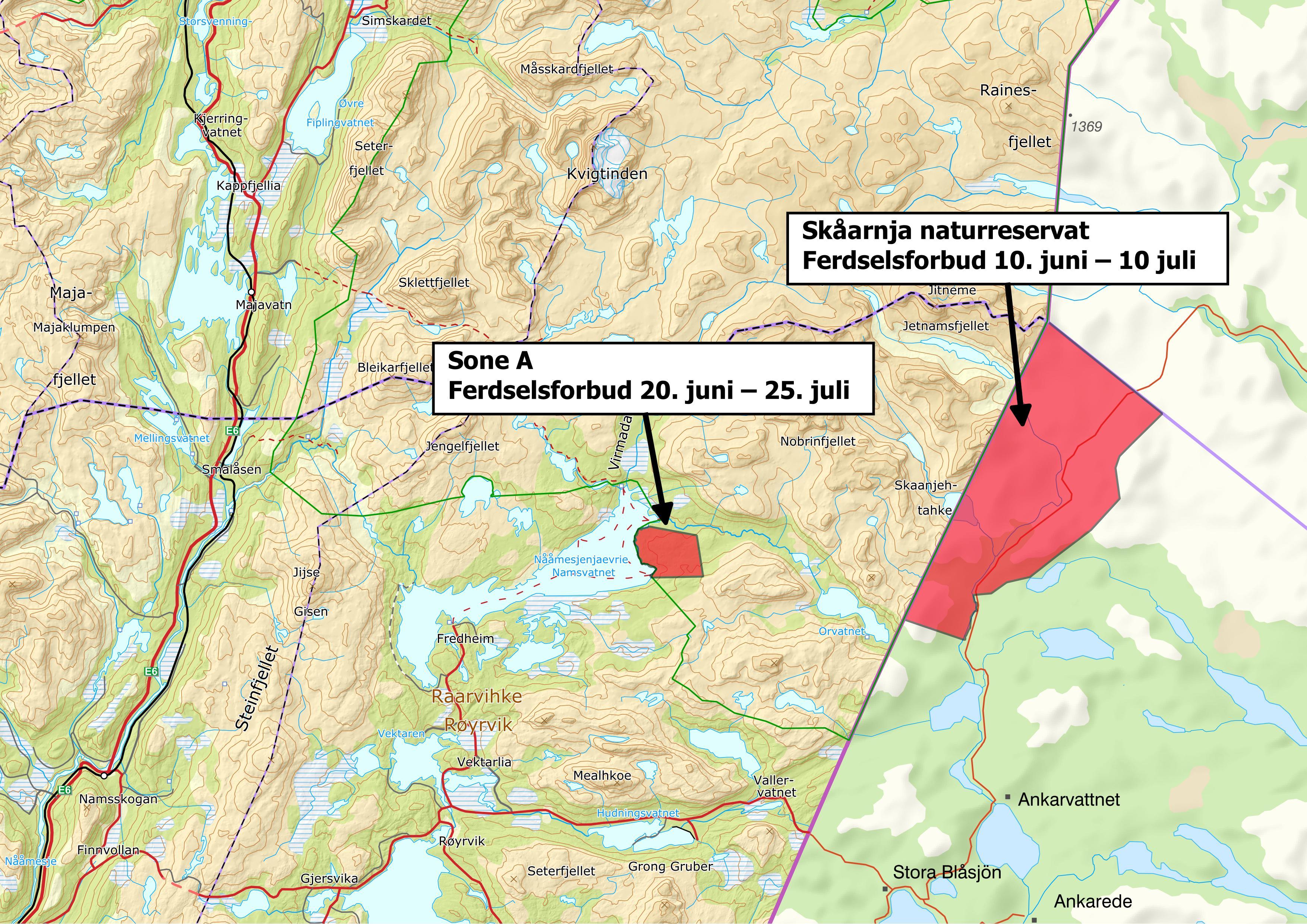Kart Børgefjell ferdselsforbud
